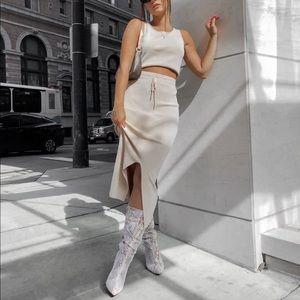 MinkPink beige knit top and skirt set